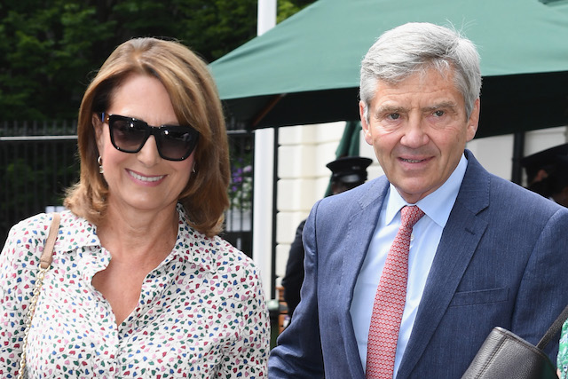 Carole Middleton and Michael Middleton attend day nine of the Wimbledon Tennis Championships