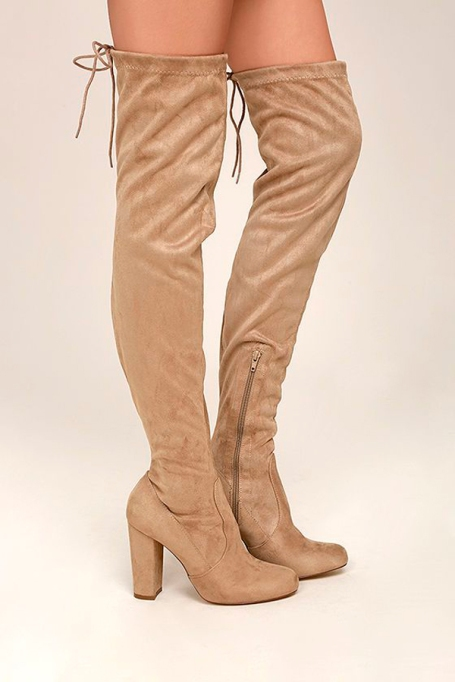 Best Pairs of Over-the-Knee Boots: So Much Yes Taupe Suede Over the Knee Boots | Fall and Winter Fashion 2017