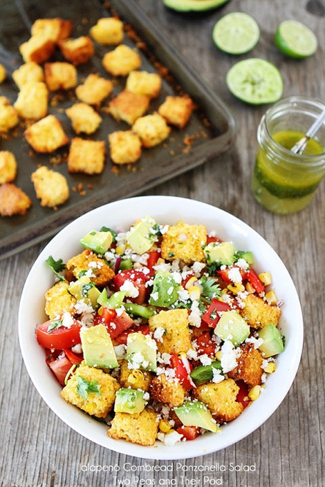 Jalapeño cornbread panzanella salad from Two Peas and Their Pod