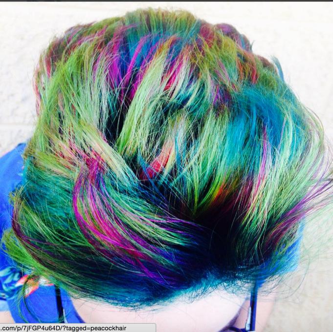 Peacock hair color on pixie cut