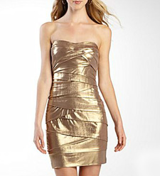 taupe/gold shimmery strapless shutterpleat dress ($50, jcpenney.com)