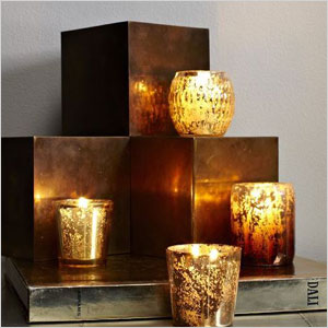 Gold mercury candle holders