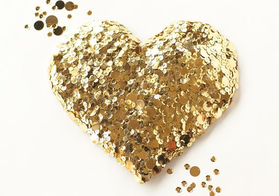 gold sequined heart