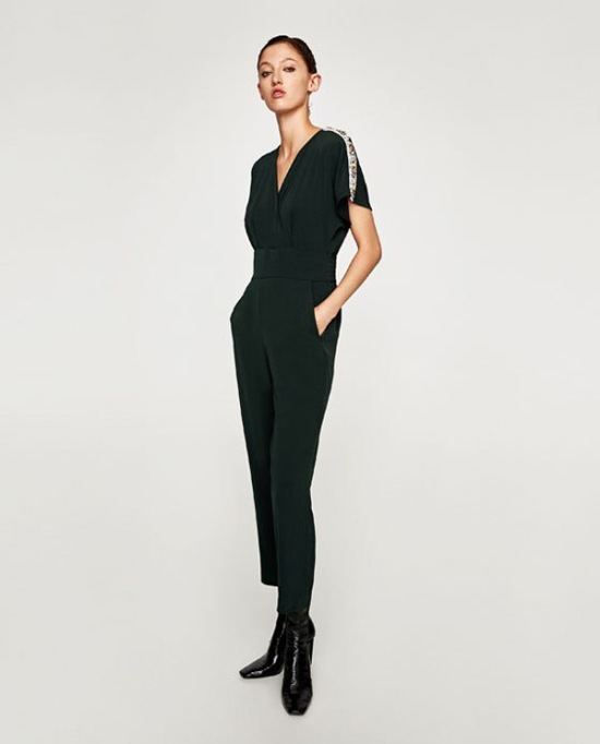 What to Wear to a Fall or Winter Wedding: Zara Jumpsuit With Shoulder Gems | Fall Style 2017