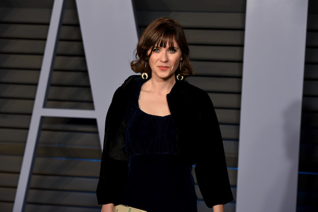 Zooey Deschanel attends the 2018 Vanity Fair Oscar Party