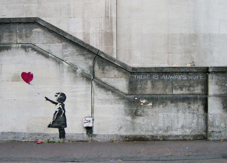 print of graffiti art by Banksy