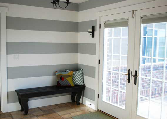 Striped gray and white walls