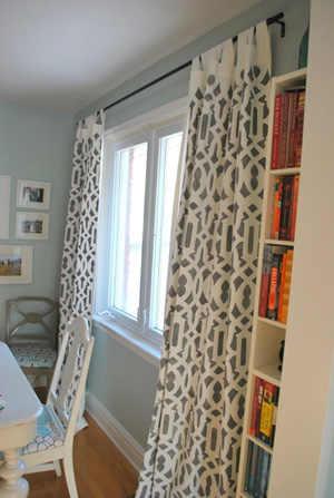 Gray stenciled curtains