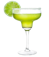 green cocktail with lime garnish