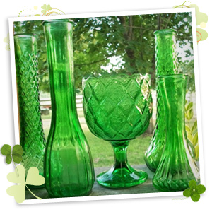 Use green vases to decorate for St. Patrick's day