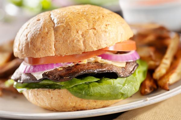 Grilled mushroom burger