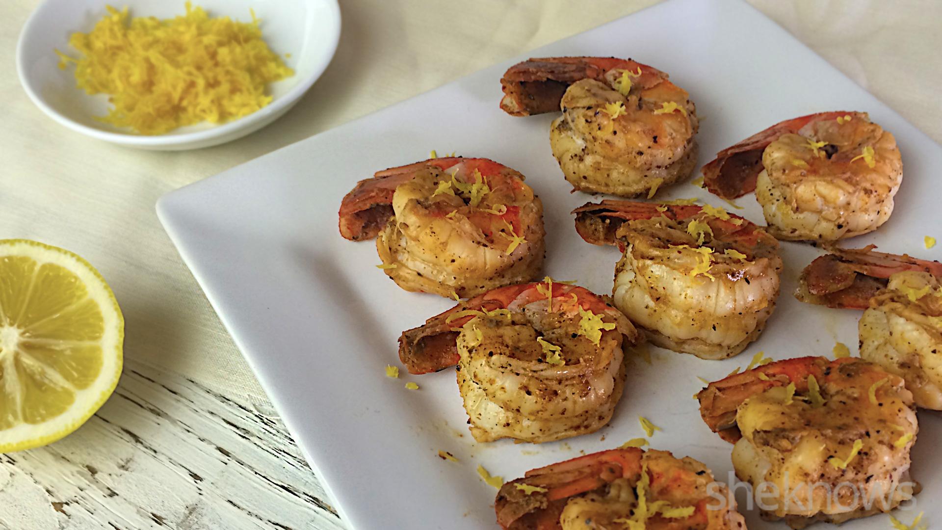 grilled shrimp topped with lemon zest