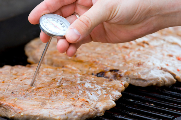 Grilling meat with thermometer