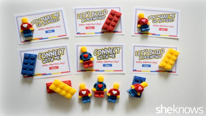 LEGO-inspired Valentine's Day cards and candies