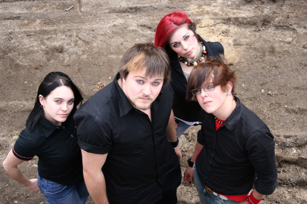 Group of gothic teens
