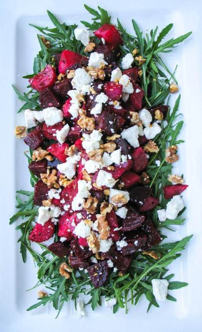 Yummy Winter Salads You'll Actually Crave   Roasted Beetroot Goat Cheese Walnut Salad