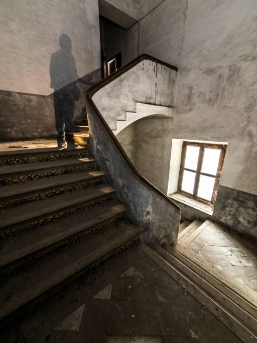 ghost man walking up stairs