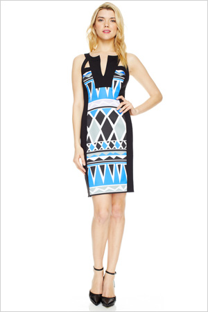 Shop the look: Muse Split Neck Print Fitted Sheath (museapparel.com, $40)