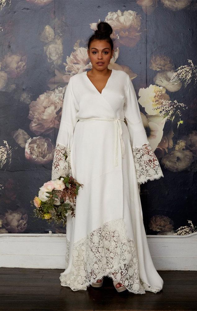 Lace Sleeve Wrap Wedding Dress