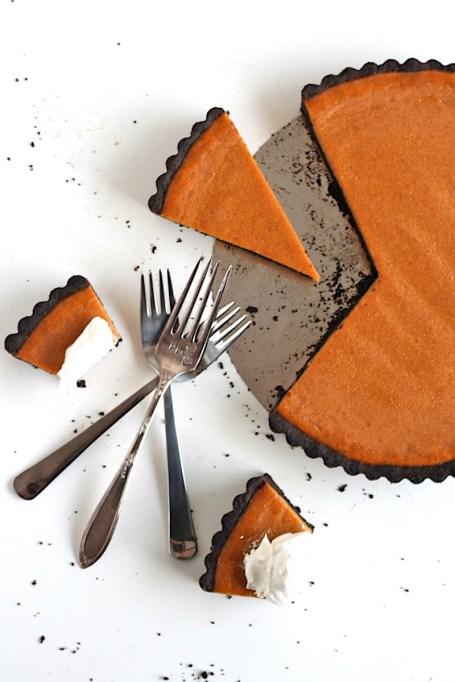 New Twists on Classic Thanksgiving Pies: Dark Chocolate Pumpkin Tart