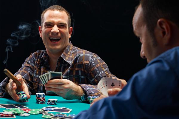Guys playing poker