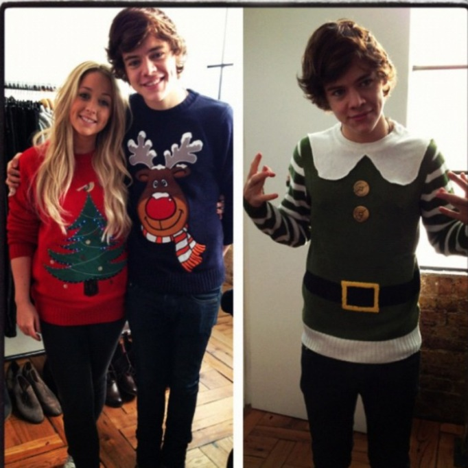 Harry Styles ugly Christmas sweater