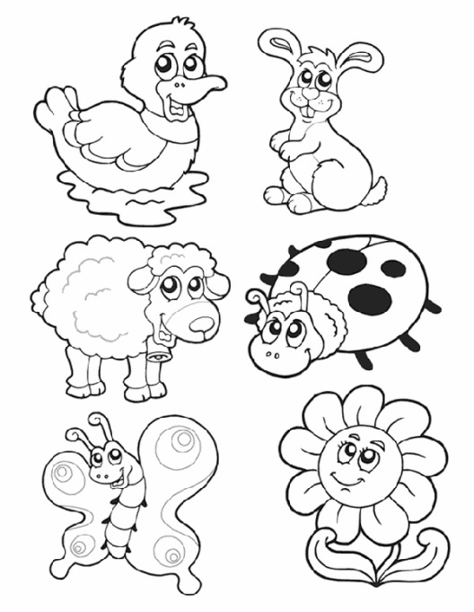 Spring animals coloring page