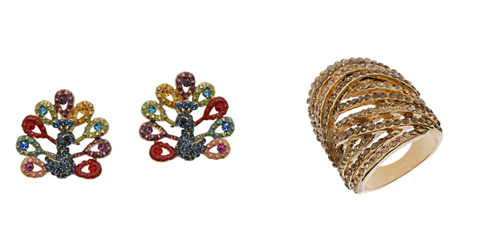 Cocktail ring and earrings