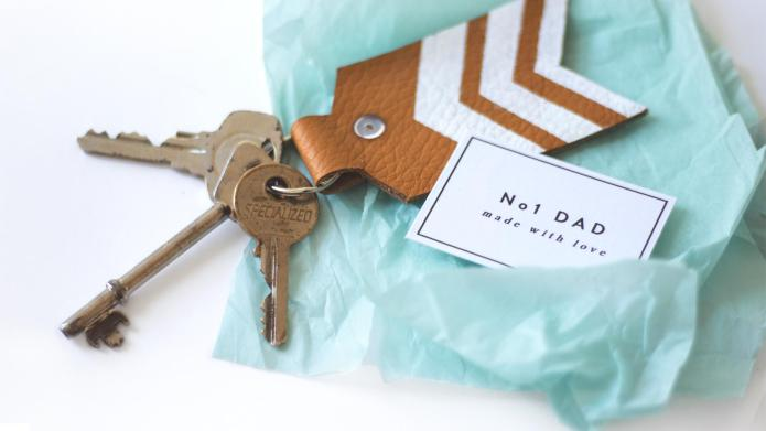DIY painted leather keychain for Father's