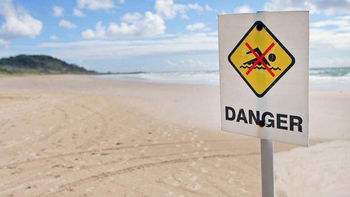 BALLINA, AUSTRALIA - FEBRUARY 10: Danger