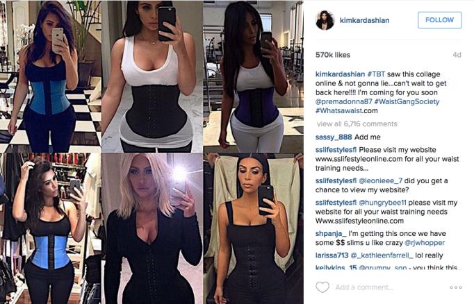 Kim Kardashian in waist trainers