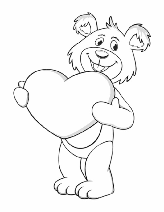 Valentine's Day Coloring Pages: Bear with hearts