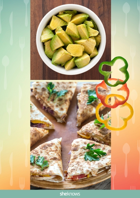 Quesadilla slices with bell peppers and a side of avocado cubes