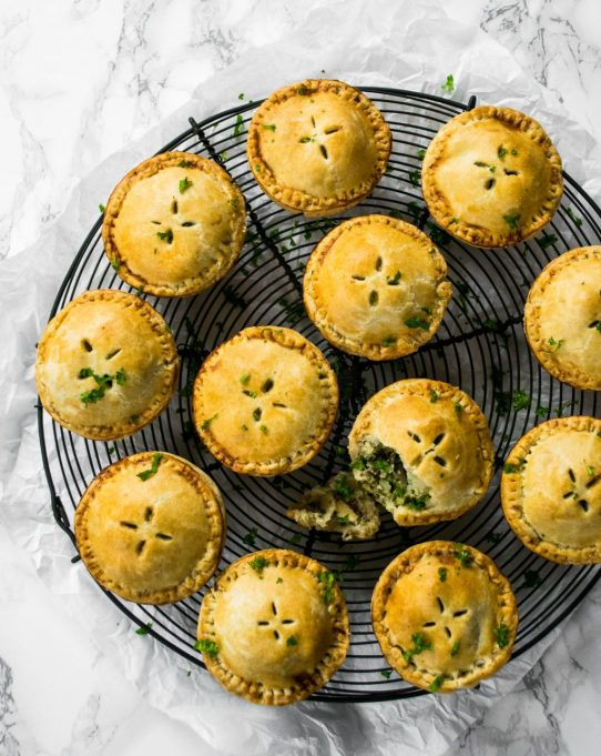 Kale pesto and cauliflower picnic pies from The Veg Space
