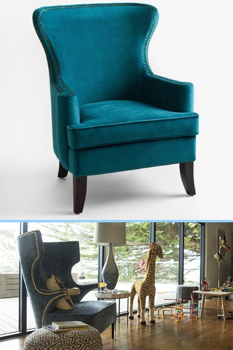 Pacific blue Elliott wingback chair,