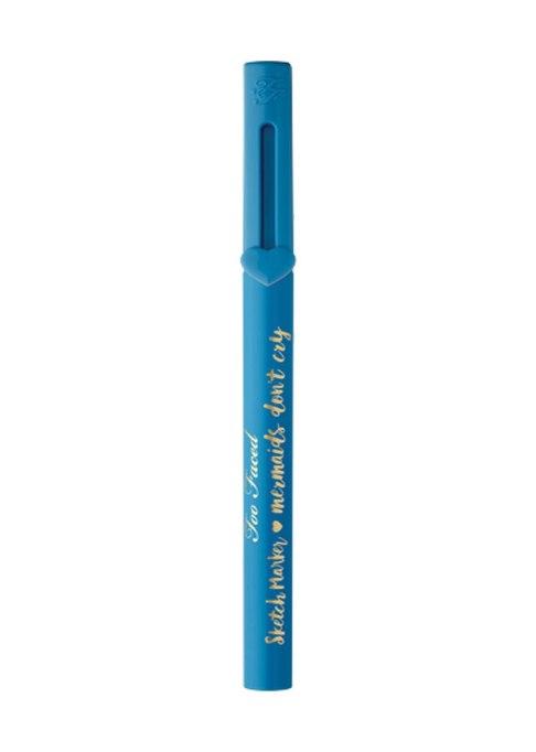 Makeup for Your Eye Color | Too Faced Sketch Marker Liquid Art Eyeliner in Steel Blue