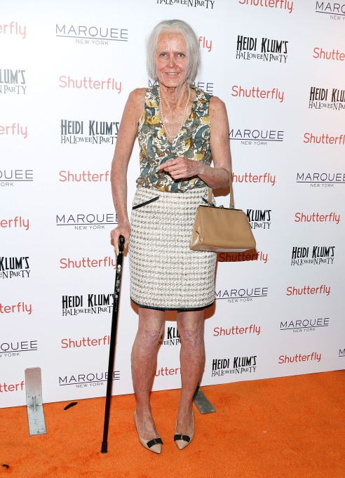 Heidi Klum dresses as an old lady for Halloween