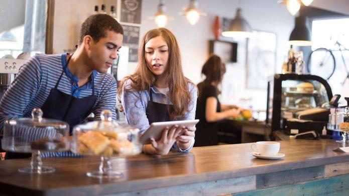 Two teens baristas summer job