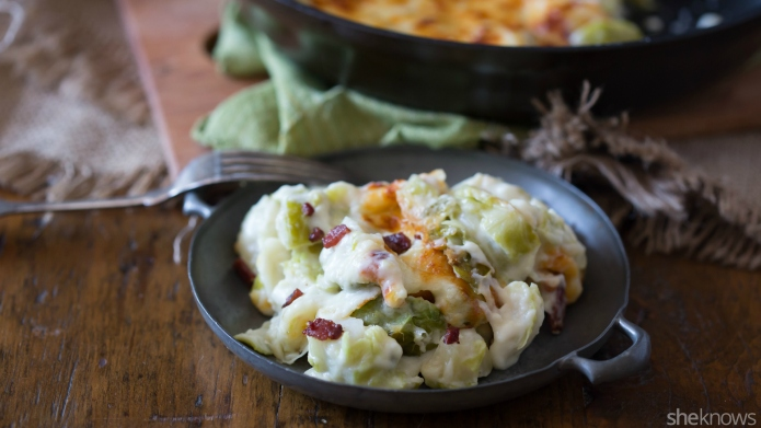 Brussels sprouts and bacon gratin will