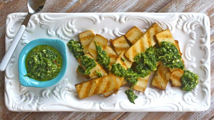 Vegan grilled tofu with chimichurri sauce