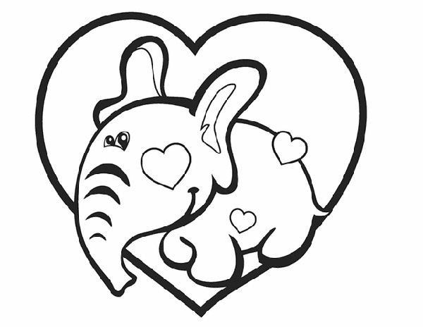Valentine's Day Coloring Pages: Elephant