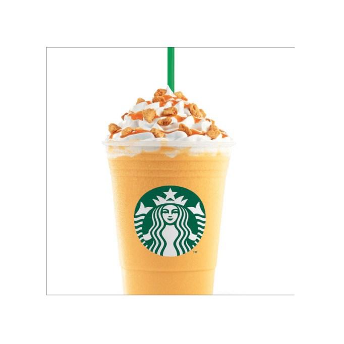 Orange Honeycomb Crunch Frappuccino Starbucks