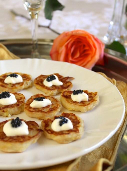 Irish potato pancakes topped with caviar