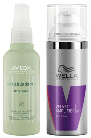 Aveda Style Prep and Wella Velvet Amplifer