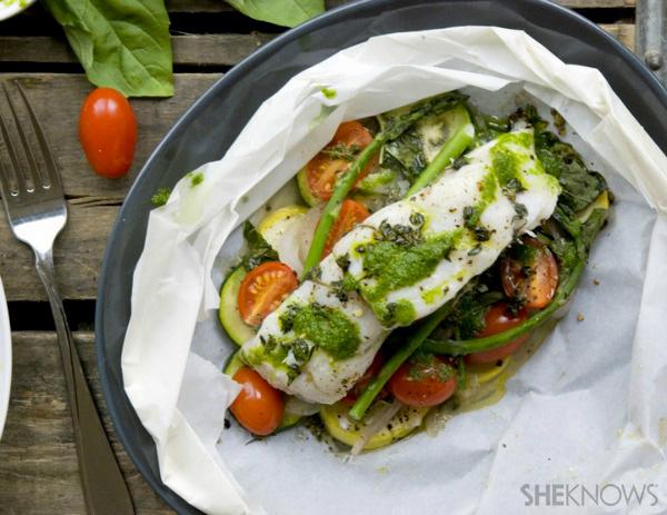 Halibut and summer vegetables en papillote