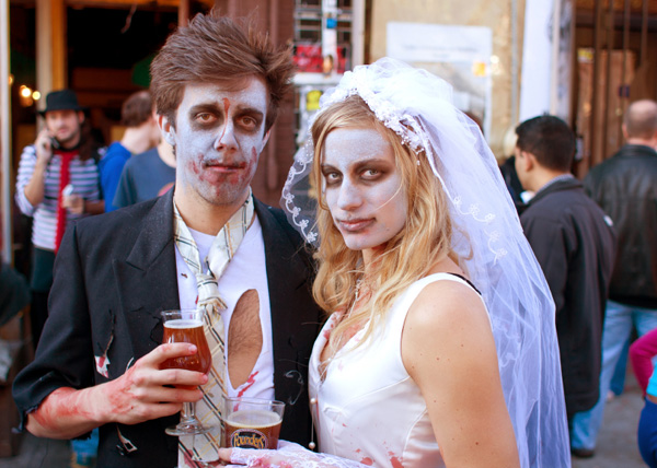 Couple dressed as zombies for Halloween