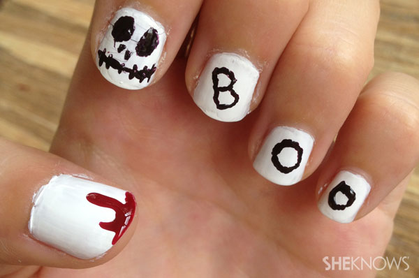 Halloween nail art ghostly delight | Sheknows.ca - final product