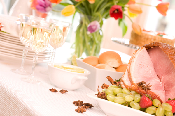 Easter wine with ham