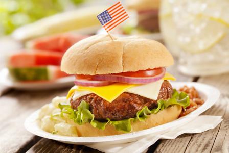 Hamburger at Memorial Day BBQ