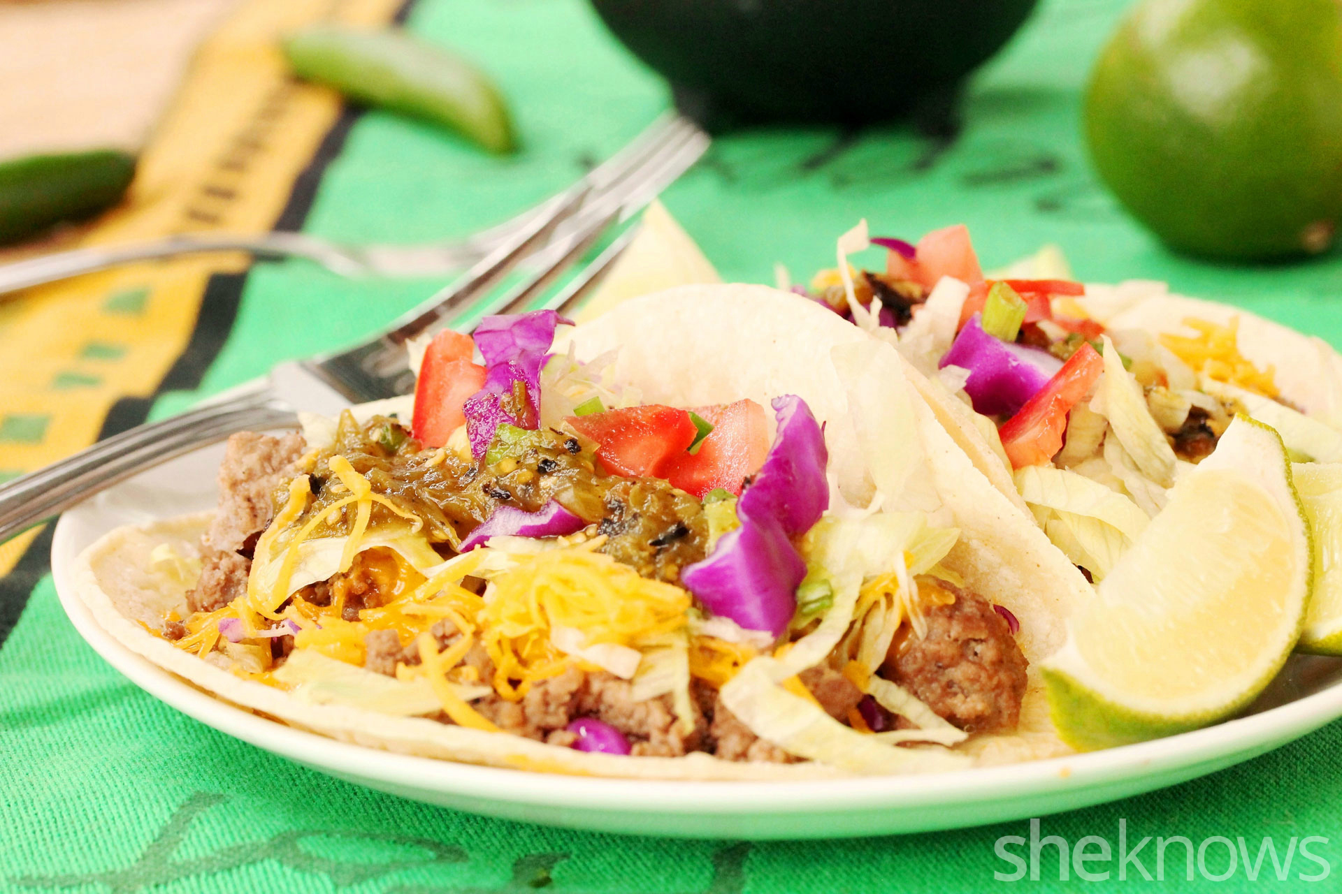 Soft tacos with ground beef
